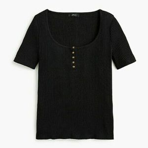 J. Crew Black Scoop Neck Ribbed Henley